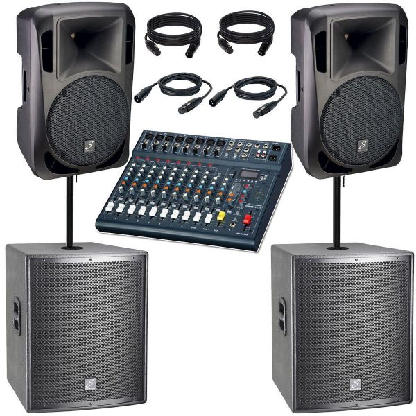 Studiomaster Drive 12A + 15A Subs Active Speakers pair + Club XS12 Mixer, System